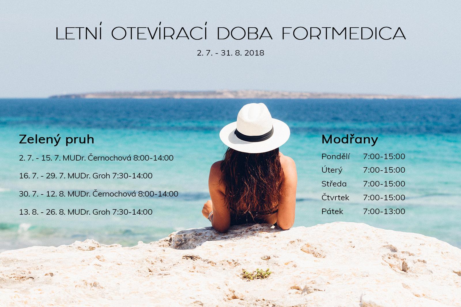 FortMedica ORL letní otevírací doba 2018