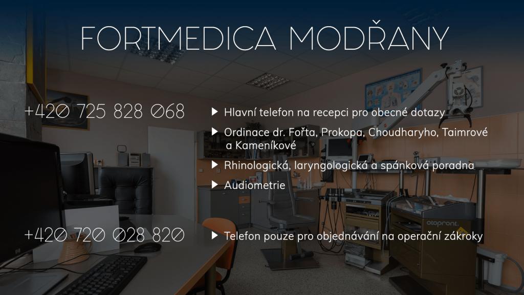 Mobilní telefony do ORL ambulance FortMedica Modřany